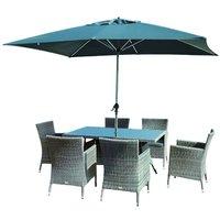 Glencrest Katie Blake Sandringham 6 Chair Rattan Rectangular Dining Set with Parasol and Base - Grey