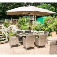 Glencrest Katie Blake Sandringham 6 Chair Rattan Rectangular Dining Set with Parasol and Base - Natural