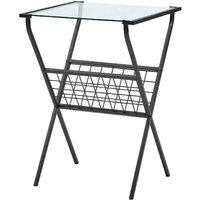 Metal and Glass Side Table with Magazine Holder Black