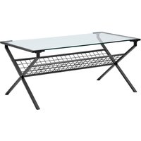 42 Inch Metal and Glass Coffee Table with Magazine Holder Black