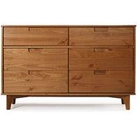 6 Drawer Solid Wood Dresser Caramel