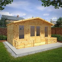 Mercia 5m x 3m 28mm Wall Retreat Log Cabin with Veranda