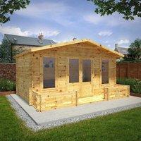 Mercia 5m x 3m 34mm Wall Double Glazed Retreat Log Cabin with Veranda