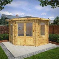 Mercia 3m x 3m 34mm Wall Double Glazed Corner Cabin