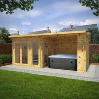 Mercia 6m x 3m 28mm Wall Studio Pent With Outdoor Area