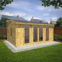 Mercia 5m x 4m 34mm Wall Home Office Director Log Cabin