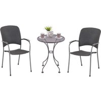 Royal Garden Carlos 2 Seat Steel Rattan Bistro Set - Grey