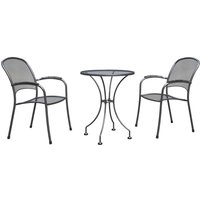 Royal Garden Carlo 2 Seat Steel Bistro Set - Grey