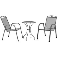 Royal Garden Savoy 2 Seat Steel Bistro Set - Grey