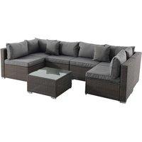 Creador 8 Seater Modular Rattan Sofa Set - Brown/Grey