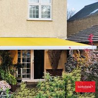 Birkdale 4m wide Kiara Remote Control Elec Awning - White frame with LED lighting Incl. INSTALLATION
