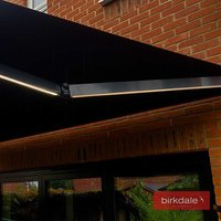 Birkdale 4m wide Kiara Remote Control Electric Awning - Grey frame with Integral LED lighting