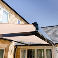 Birkdale 4m wide Kiara Remote Control Elec Awning - Grey frame with LED lighting. Incl. INSTALLATION