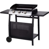 Gas BBQ 3 Burner Plancha in Stainless Steel with Stand and Side Tables - Black