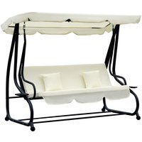 Outsunny 2 in 1 Patio Swing Seat Hammock Bed - Cream