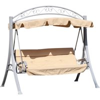Outsunny 3 Seater Swing Seat with Decorative Frame - Beige