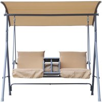 Outsunny 2 Seater Swing Seat with Drinks Compartment - Beige
