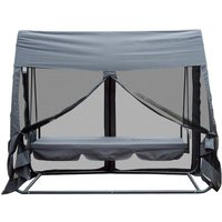 Outsunny 2-in-1 Patio Swing Seat Hammock with Net - Grey