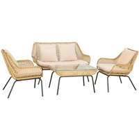 Outsunny 4 Seat Webbed Wicker Sofa Set - Natural