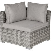 Outsunny Modular Rattan Corner Chair - Grey