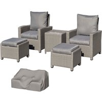 Outsunny 2 Seat Rattan Lounge Set with Footstools and Coolbar- Grey
