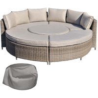 Outsunny 2 in 1 Rattan Dining Set Daybed - Natural