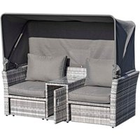 Outsunny 2 Seat Rattan Lounge Set with Footstools and Canopy - Grey