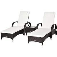 Outsunny Rattan Sun Lounger Set with Side Table - Brown