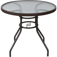 Outsunny Rattan Patio Table with Glass Top
