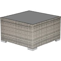 Outsunny Rattan Coffee Table with Glass Top - Light Grey