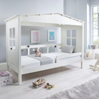 Mento White Wooden Treehouse Bed and Coil Spring Mattress