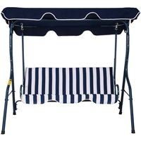 Outsunny Striped 3 Seater Swing Seat - Blue/White