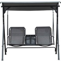 Outsunny 2 Seater Swing Seat with Drinks Compartment - Grey