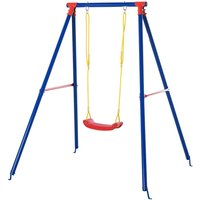 Outsunny Metal Swing Set with Adjustable Rope