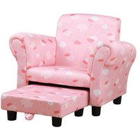 Cute Cloud Star Childs Armchair With Footrest Pink