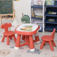 Kids Table and Chairs Set With Whiteboard Tabletop Age 1 to 4 Years Coral Red