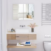 Wall Mounted Mirror Cabinet Double Door Bathroom Storage Unit With Adjustable Shelf