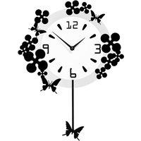 Premier Housewares Flower/Butterflies Design Pendulum Wall Clock - Black/White