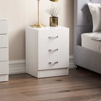 Vida Designs Riano 3 Drawer Bedside Chest, White