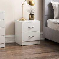 Vida Designs Riano 2 Drawer Bedside Chest, White