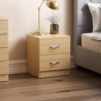 Vida Designs Riano 2 Drawer Bedside Chest, Pine