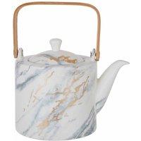 Premier Housewares Marble Effect Tea Pot, White, Bamboo Handle