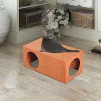 Pawhut MDF Cat House and Rabbit Cage For Play w/ Waterproof Shelter - Red