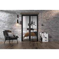 LPD Doors LPD Room Divider Black Greenwich W4 Internal Room Divider D3.5 xW124.6 xH203.1cm