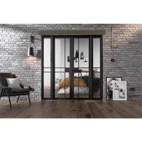 LPD Doors LPD Room Divider Black Greenwich W6 Internal Room Divider D3.5 xW190.4 xH203.1cm