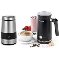 Salter COMBO-7730 200W Electric Coffee Grinder and 500W Milk Frother - Black and Stainless Steel