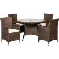 Royalcraft Cannes 4 Seater Round Dining Set - Brown