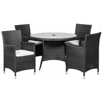 Royalcraft Cannes 4 Seater Round Dining Set - Black
