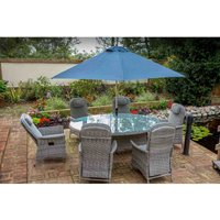 Katie Blake Flamingo 6 Reclining Chair Dining Set with 1.2m x 1.75m Oval Table Parasol and Base - Grey / Blue