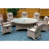 Katie Blake Flamingo 6 Reclining Chair Dining Set with 1.2m x 1.75m Oval Table Parasol and Base - Natural / Taupe